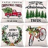 CDWERD - Fundas de almohada de Navidad de 18 x 18 pulgadas, diseño de árboles de Navidad, decoración de granja, funda de…