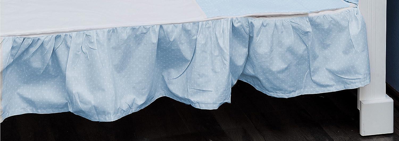 Vizaro - MATRATZENRÜ SCHE/Bettrock um die Kinderwiege zu schmü cken 60x120cm - 100% REINE BAUMWOLE - Hergestellt in der EU ohne schä dlichen substanzen - SICHERES PRODUKT Blau Und Weiß