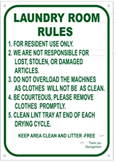 LAUNDRY ROOM RULES SIGN ALUMINIUM 10x14 Rust Free