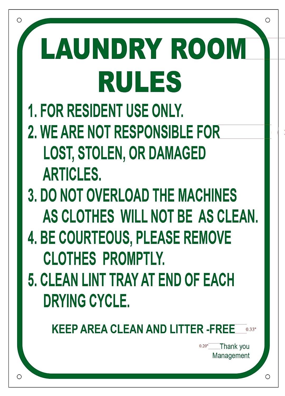 LAUNDRY ROOM RULES SIGN ( ALUMINIUM 10x14 -Rust Free )