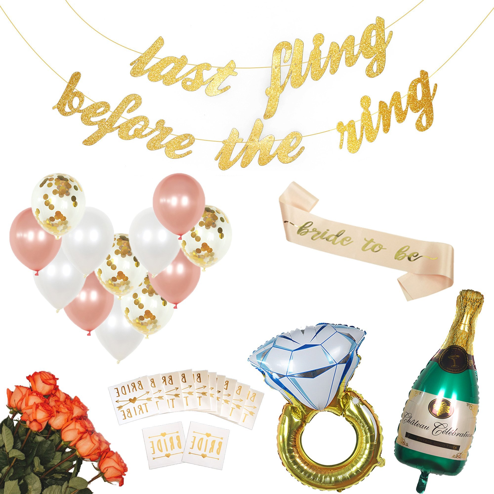 Bachelorette Party Decorations Kit | Bridal Shower Supplies | Rose Gold Bride to Be Sash, Bride Tribe Tattoos, Champagne & Ring Foil Balloon, Confetti Balloons, Bachelorette Party Banner Favors by The Final Rose
