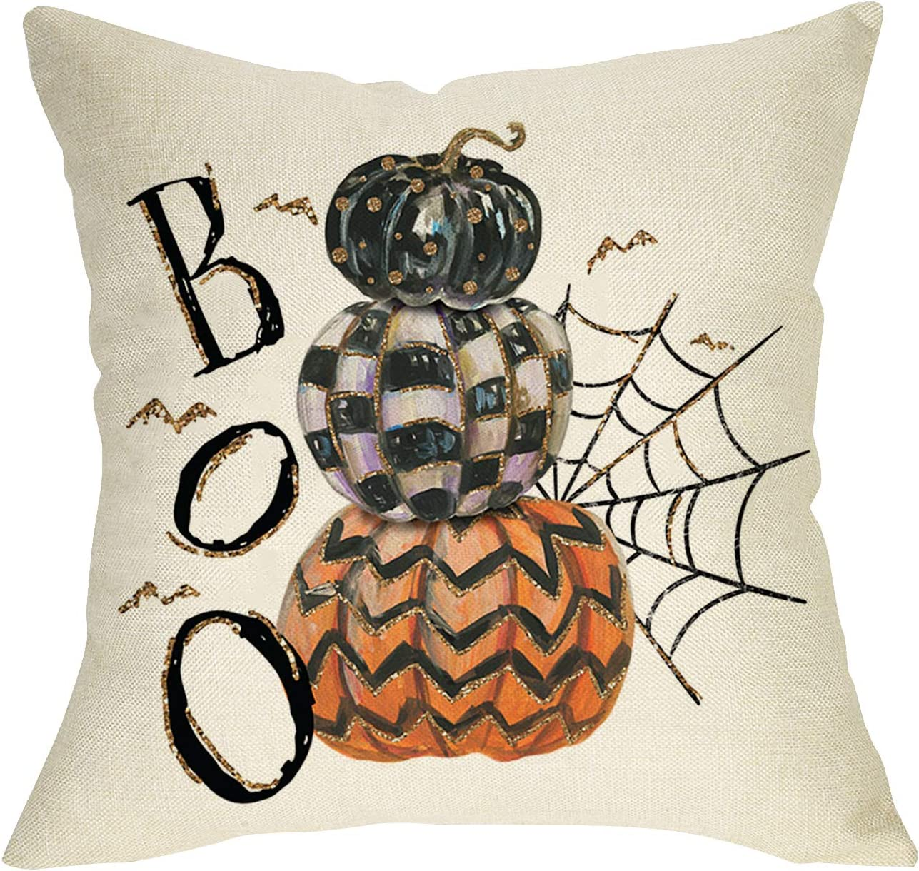 Softxpp Boo Halloween Decorative Throw Pillow Cover, Plaid Pumpkins Cushion Case Spider Web Bat Decor Sign, Fall Holiday Square Pillowcase for Autumn Home Decoration Sofa Couch 18x18 Cotton Linen