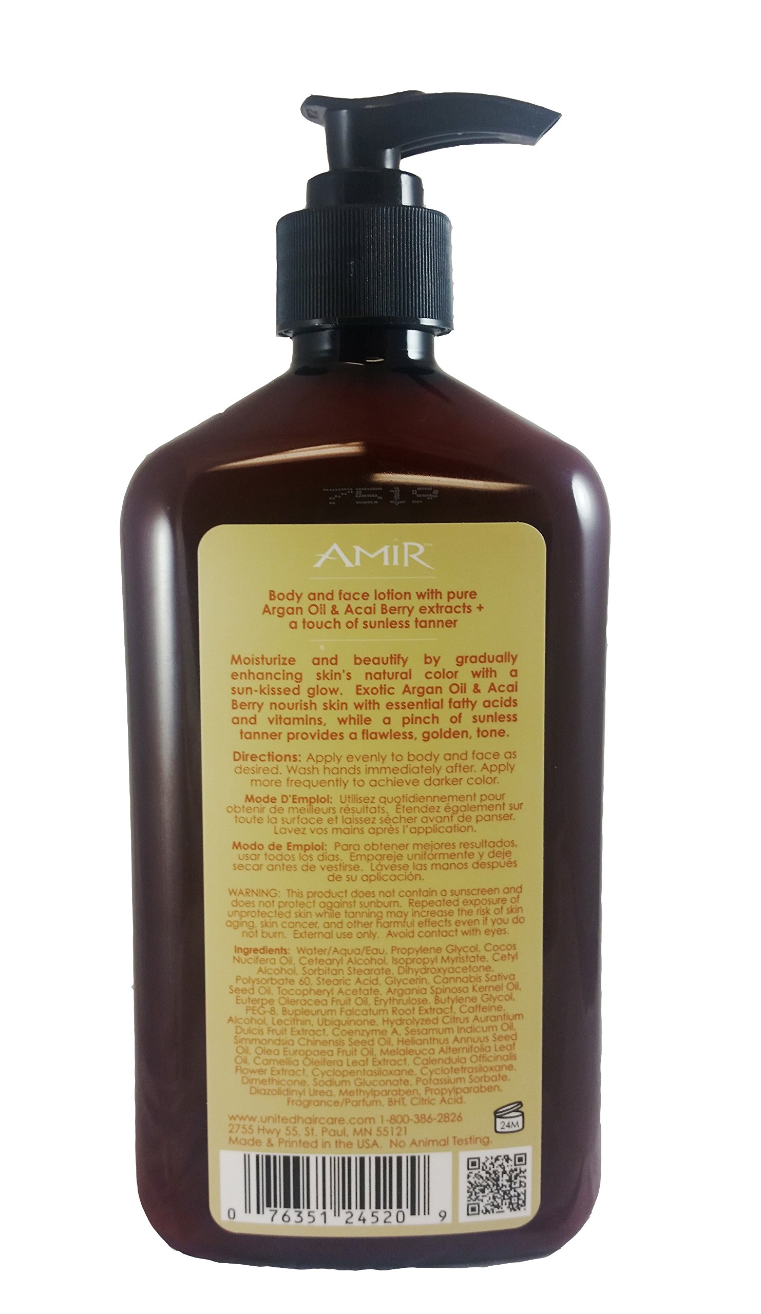 Amir Touch of Tan Moisturizer with Argan, 18 Fl Oz by AMIR