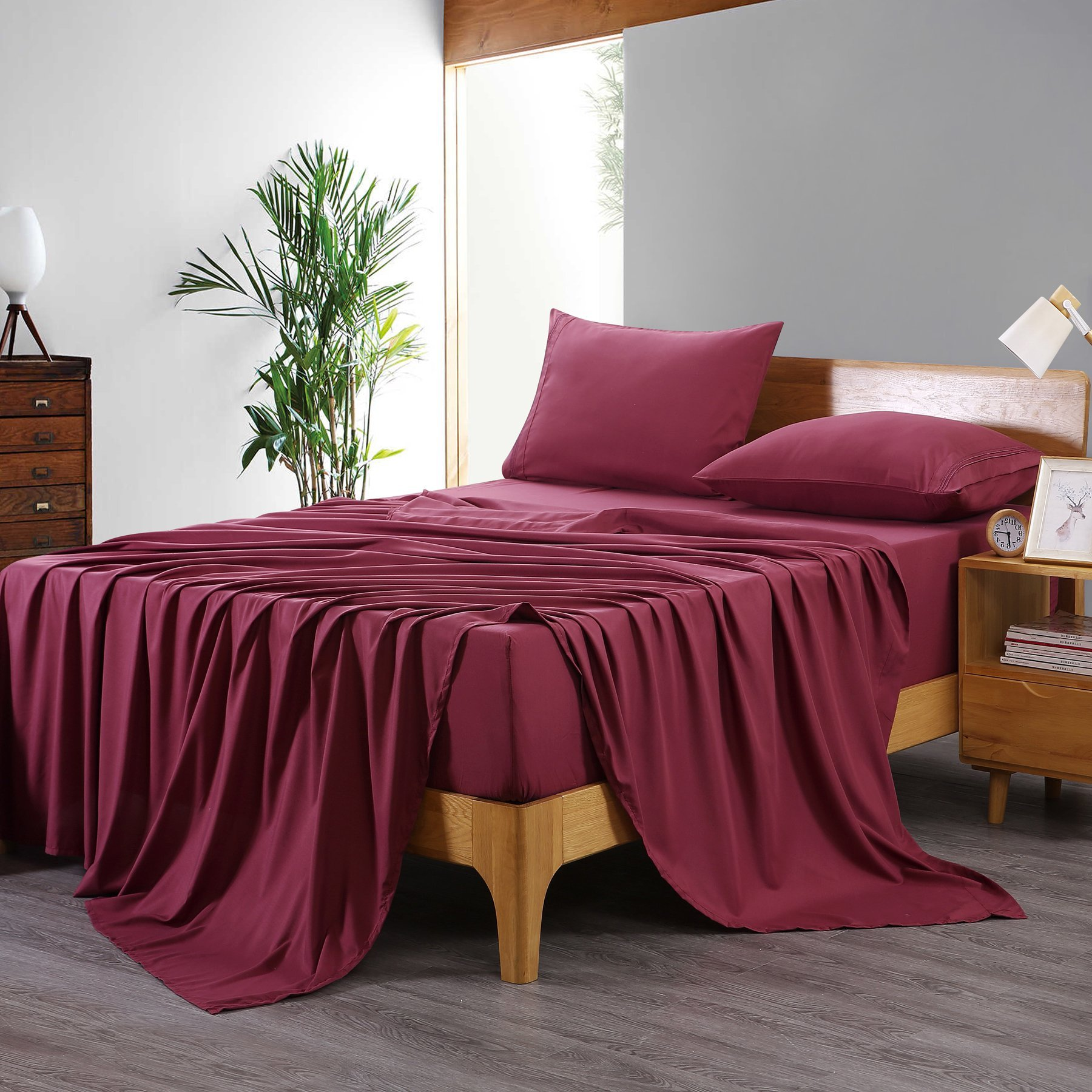DUO-V HOME King 4 Piece Bed Sheet Set Hotel Luxury Bed Sheets Extra Soft Breathable Cooling Wrinkle Free(Redwine