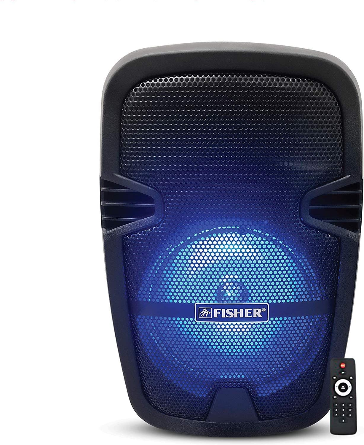 Fisher FBX822 8-Inch Compact PA System, Bluetooth, Rechargeable Speaker with Remote Control, Colorful Light FX, Karaoke Microphone Input, FM Radio, Aux/USB/TF Input