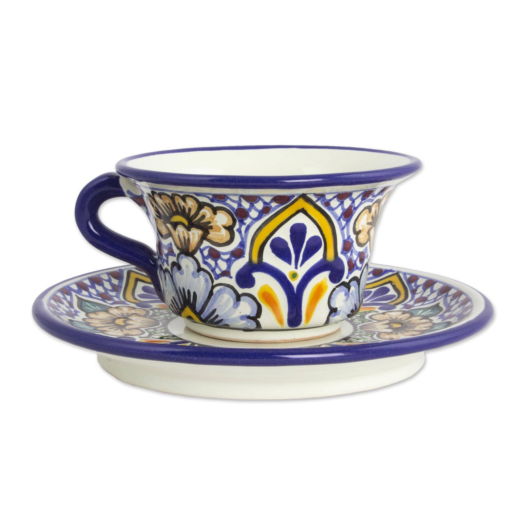 NOVICA Multicolor Ceramic Floral Cups & Saucers, 5 oz. 'Sunshine Kaleidoscope' (pair) by NOVICA