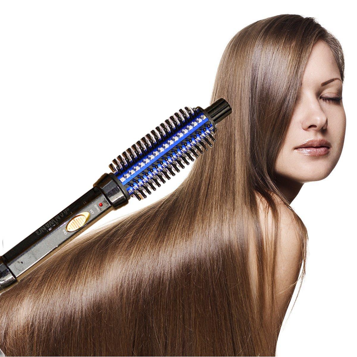 szsyr-hair rodillo de cabello peine cepillo de pelo eléctrico climatizada  redondo planchas varita cepillo de pelo peine eléctrico rizador de cerámica  ... 4cb21702d3e5