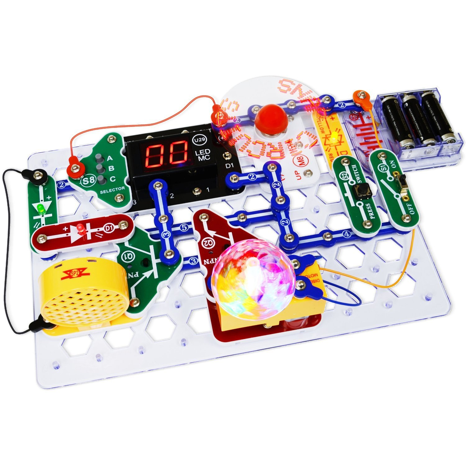 Snap Circuits Elenco Arcade Deluxe Electrical Electronics Project Kid Educational Engineering Kit With Battery Eliminator Toys Games