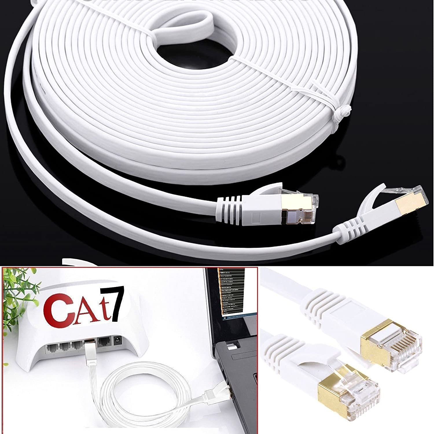 Ps3 Gigabit LAN Network Cable RJ45 STP Patch Cable 10 Gbps 600 MHz//S Molded Patch Cable PS4 Patch Panel Network Socket By MyCamBay Access Point PC and Network Adaptor Ethernet Cable Cat7 Switch Router Modem 1, Black