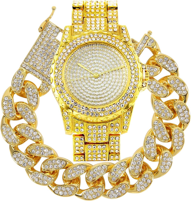 putouzip Men 18K Gold Plated Rhinestone Iced Out Stainless Steel Wrist Watch 20mm Cuban Chain Bracelet Set