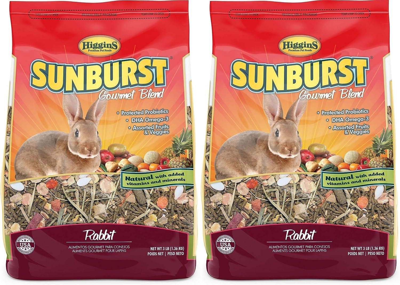 Higgins 2 Pack of Sunburst Gourmet Blend Rabbit Food, 3 Pounds Each