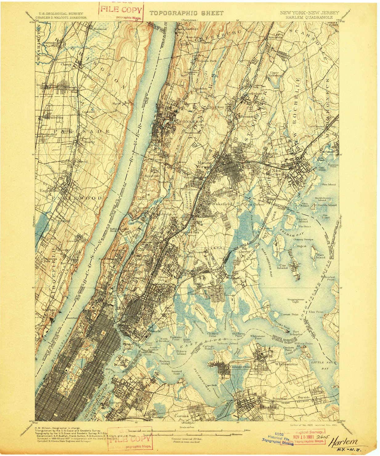 1903 Historical 20.1 x 16.6 in 1:62500 Scale YellowMaps Northport NY topo map 15 X 15 Minute Updated 1924