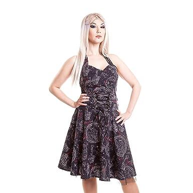 HEARTLESS KIARA TOP LADIES BLACK GOTHIC EYELITS PARTY DRESS