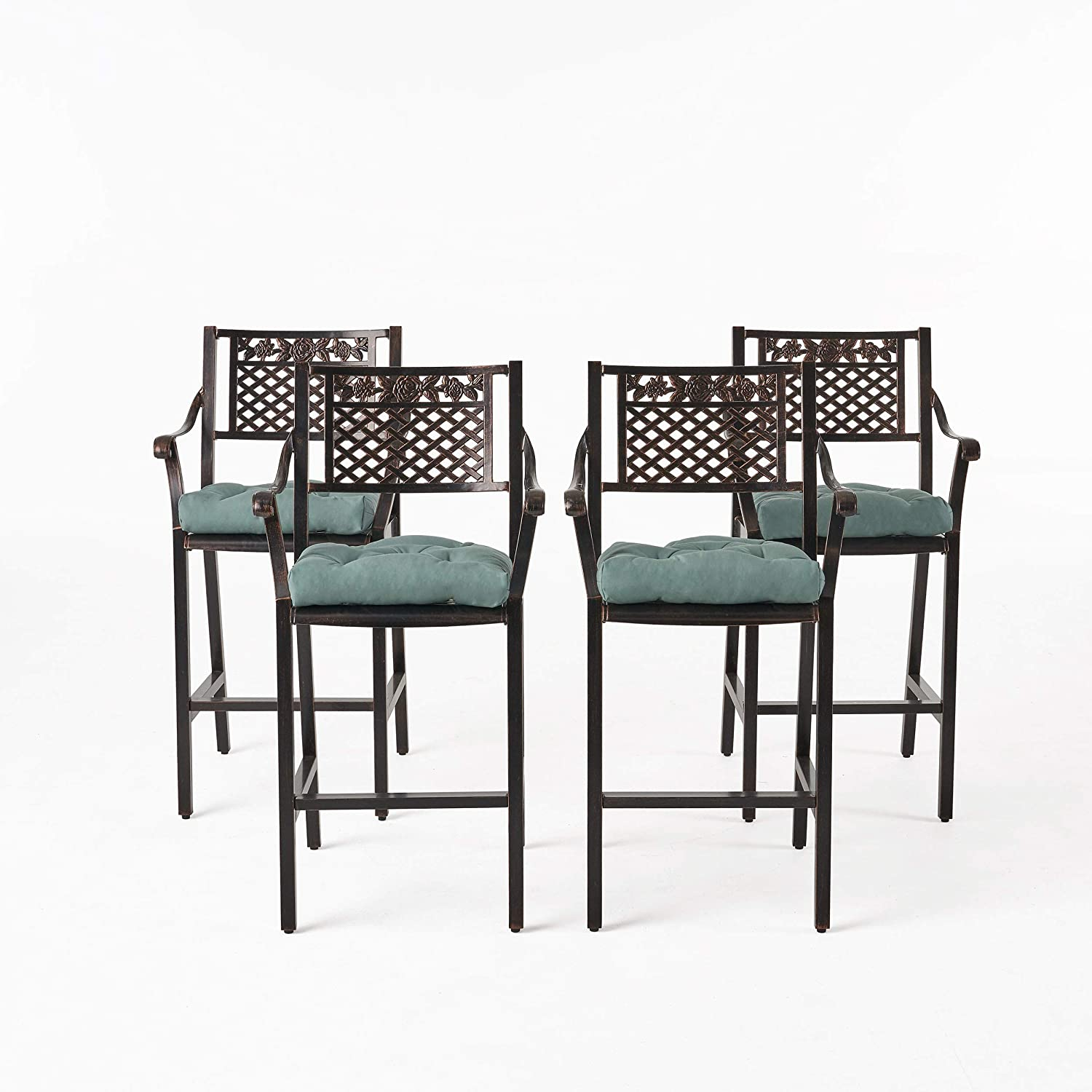 Great Deal Furniture Ellen Outdoor Barstool with Cushion (Set of 4), Shiny Copper and Teal