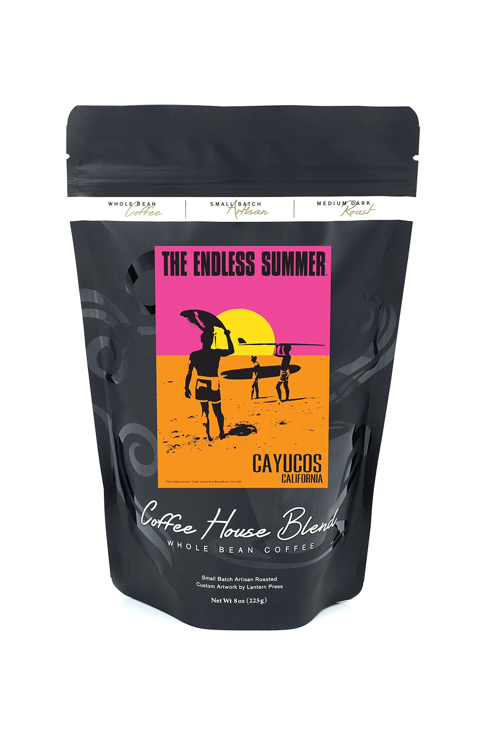 Cayucos, California - The Endless Summer - Original Movie Poster (8oz Whole Bean Small Batch Artisan Coffee - Bold & Strong Medium Dark Roast w/ Artwork)