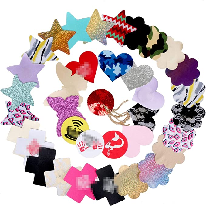 40 Pairs Nipple Covers Disposable Breast Nipple Pasties Invisible /& Sexy Adhesive Satin Petals Pasties for Women