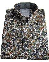 Relco Platinum Multi White Paisley Cotton Long Sleeved Retro Mod Button Down Shirts