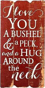 P. Graham Dunn I Love You Bushel & Peck 12 x 6 Small Fence Post Wood Look Decorative Sign Plaque