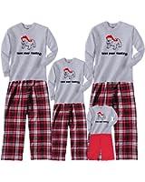 Footsteps Clothing Christmas Bull Dog Grey Matching Family Adult Pajamas & Kids Playwear; Choose Adult or Kids Size