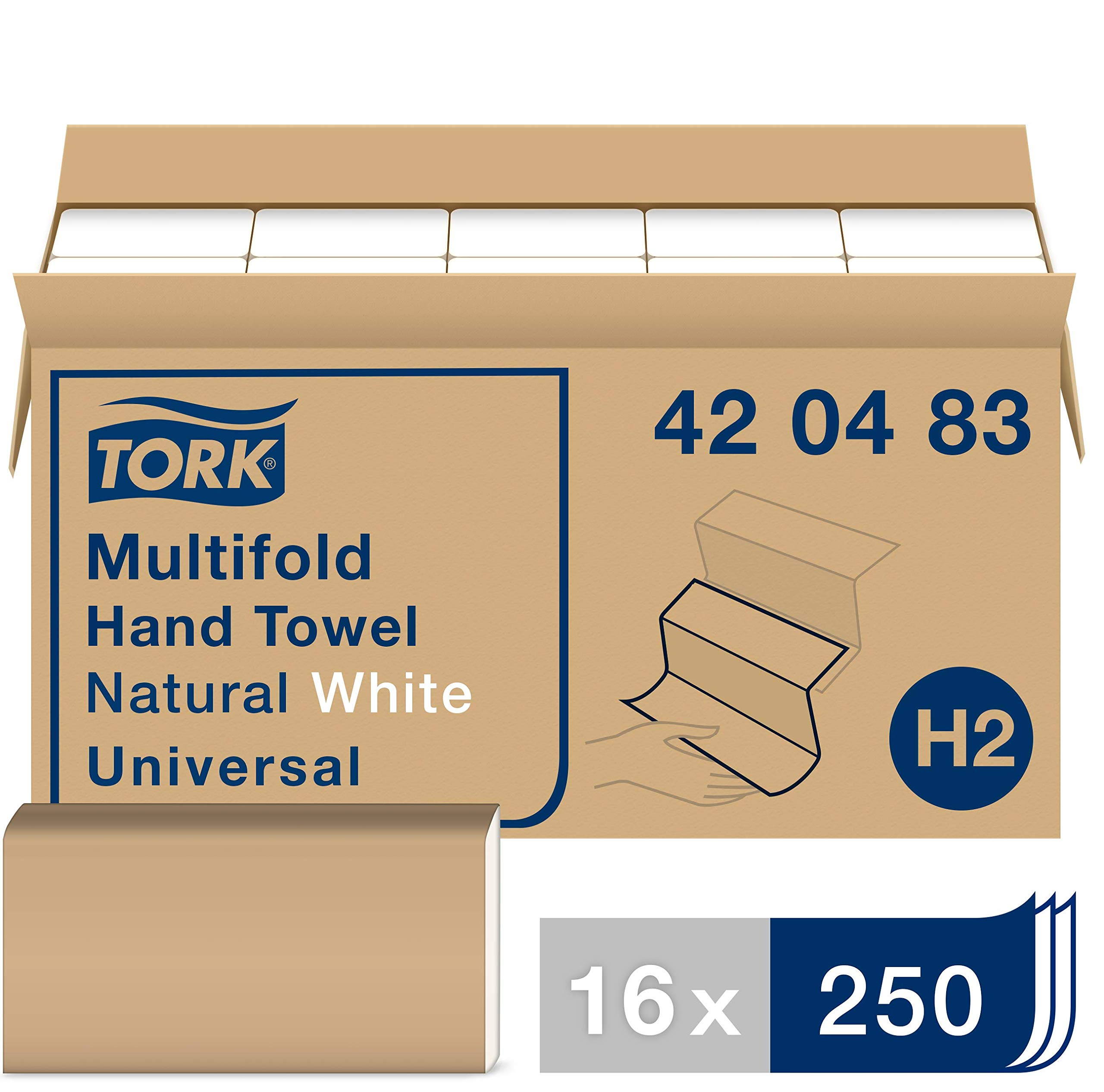 Tork 420483 Universal Multifold Paper Hand Towel, 1-Ply, 9.125'' Width x 9.5'' Length, Natural White (Case of 16 Packs, 250 per Pack, 4,000 Towels per Case) by Tork
