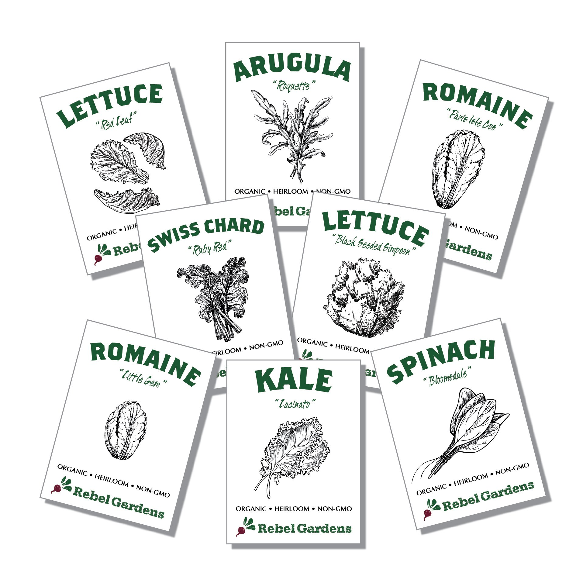 Organic Garden Greens Vegetable Seeds - 8 Varieties of Heirloom, Non-GMO Salad Greens Seeds - Lettuce, Arugula, Swiss Chard, Kale, and Spinach