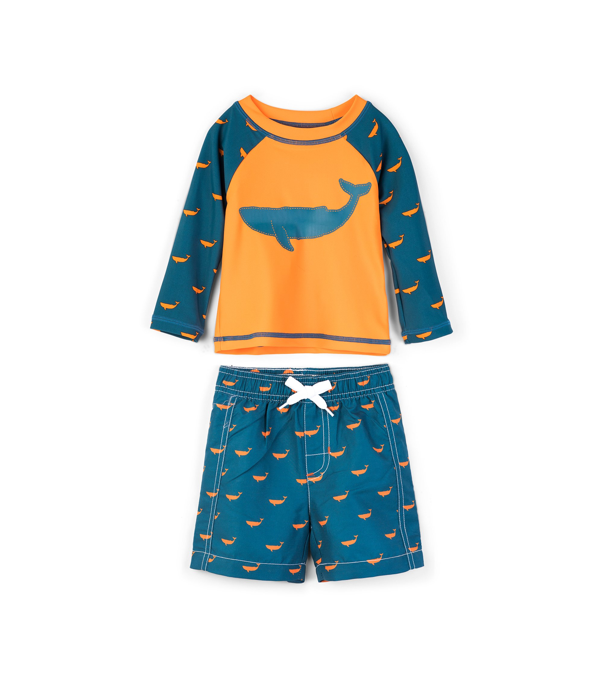 Hatley Boys' Baby Rash Guard Swimsuit Sets, Tiny Whales, 6-9 Months by Hatley