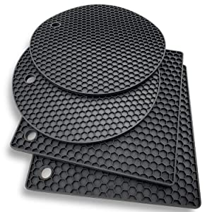 Silicone Trivet Mat Hot Pads: 4 Multi Purpose Pot Holders and Trivets - Heat Resistant Pot Holder Pad Set for Hot Dishes and Table - Kitchen Potholders for Jar Opener, Spoon Holder, Oven Mitts (Black)