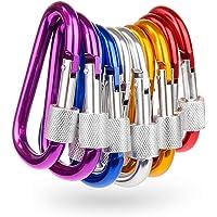 Haobase 7PCS Locking Multicolor D Shape 3 inch Clips Carabiner Clip