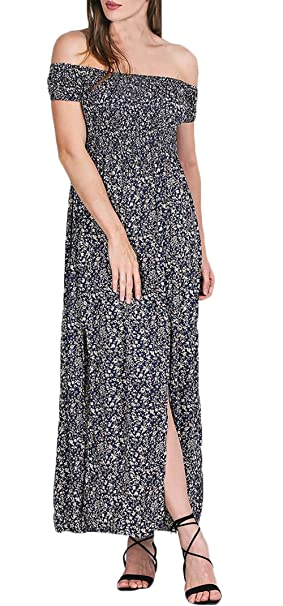 Maxi Vestido Mujer Moda Chic Floreadas Vestido Boho Manga Corta Sin Tirantes Cintura Alta Abiertas Vintage