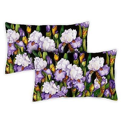 Toland Home Garden Blooming Irises 12 x 19 Inch Indoor/Outdoor, Pillow Case (2-Pack) : Garden & Outdoor