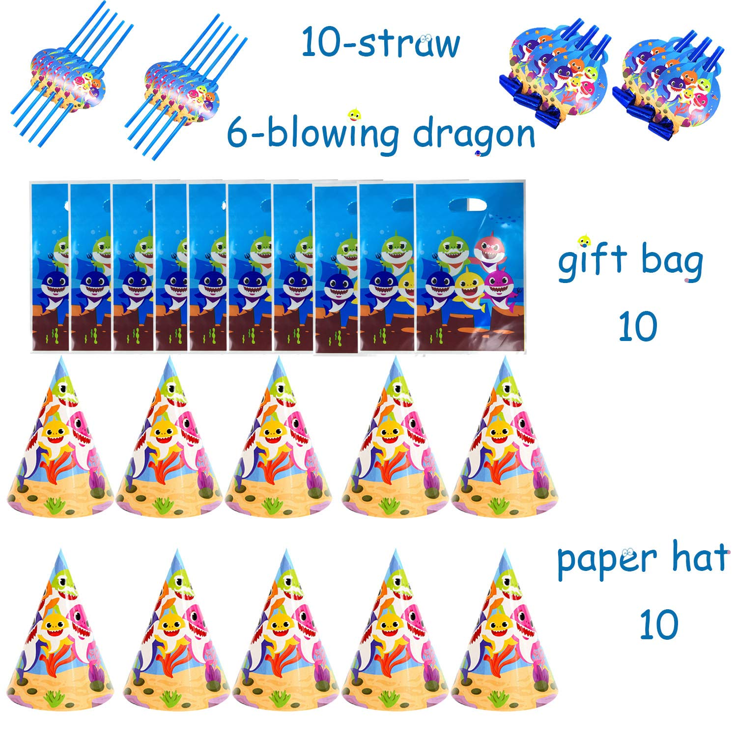 Baby Shark Party Supplies Set - 109 Pcs Baby Shark Themed Birthday Decorations Includes Disposable Tableware Kit Blowing Dragon Paper Hat Gift Bag and Banner - Serves 10 Guest by AiParty (Image #6)