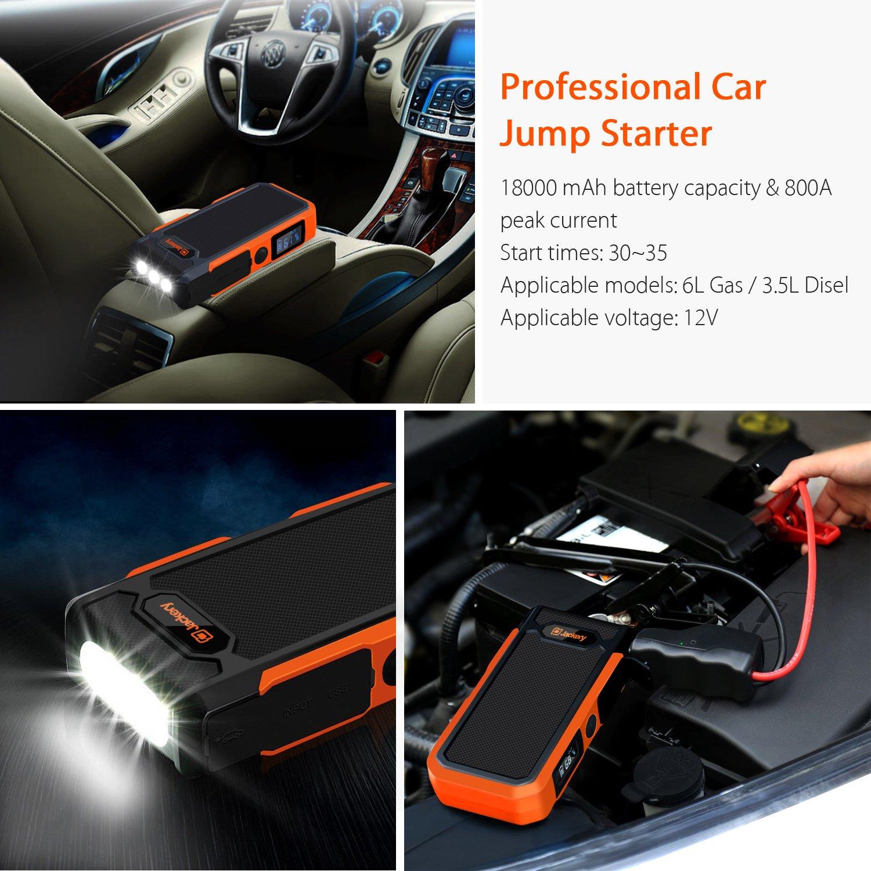 [nueva versión] Jackery Spark coche Jump Starter 18000 mAh batería de coche, 12 V, Corriente de Salida de saltar con Start hasta 600 A, linterna LED ...
