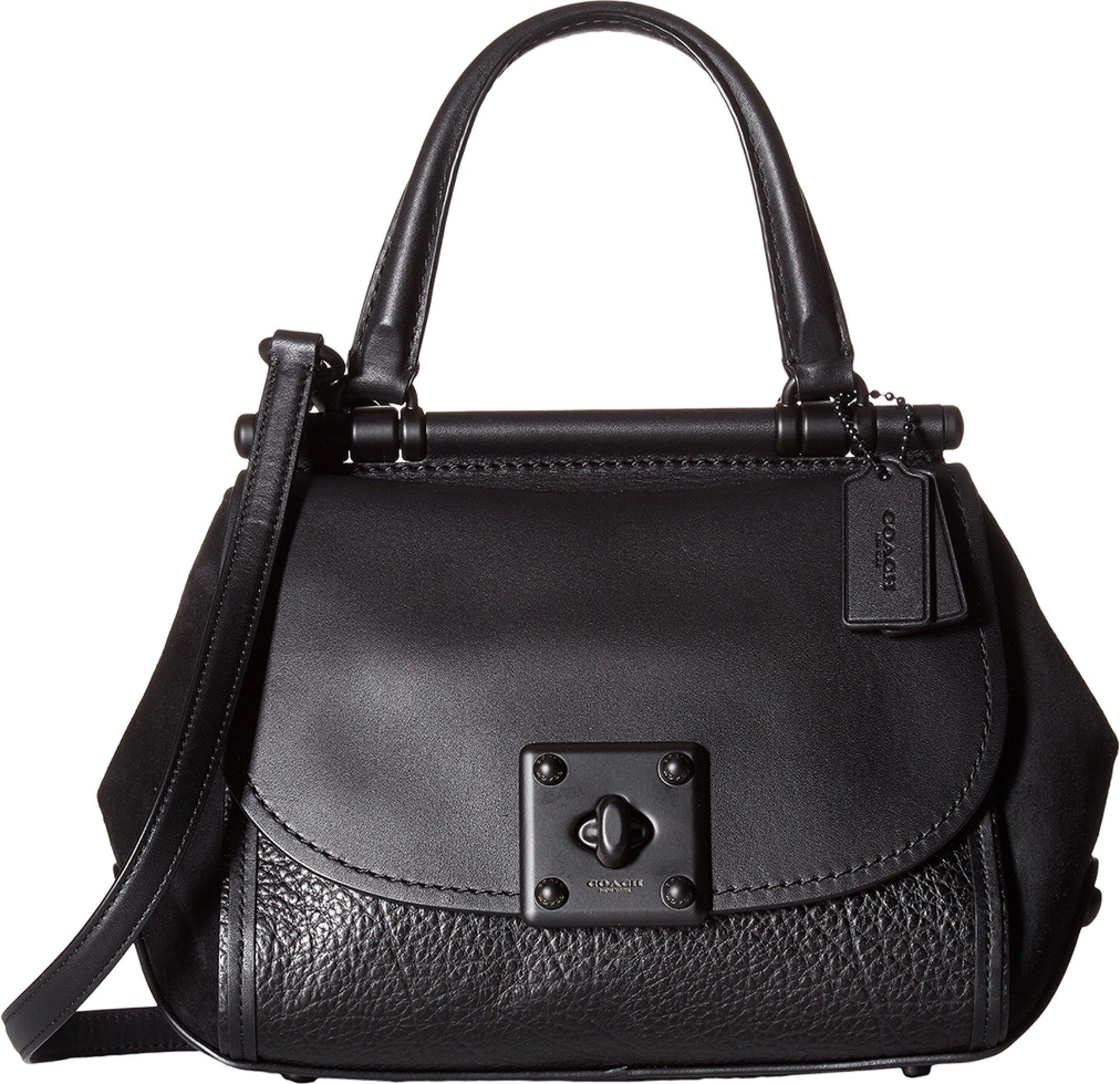 COACH Women's Mixed Leather Drifter Top-Handle MW/Black Satchel