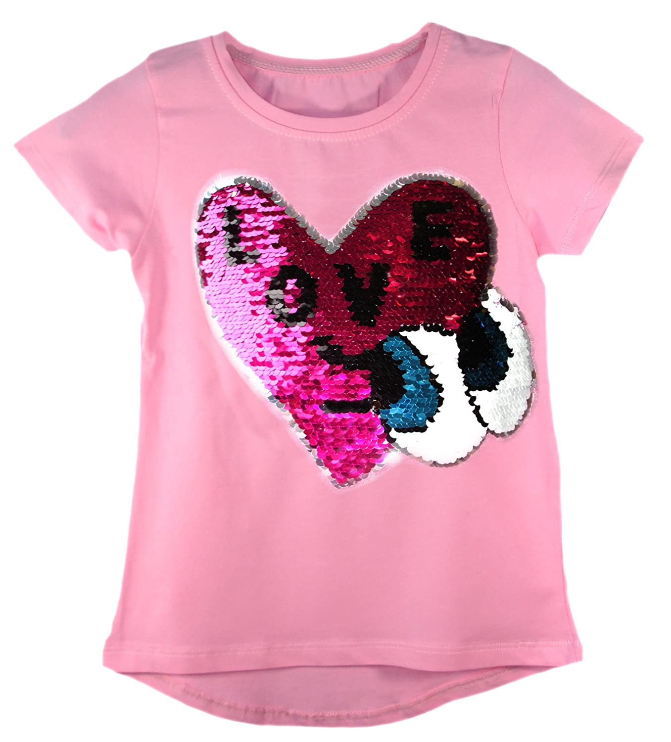 Amazon.com  Kids Girls Changing Sequin Sizes Heart Butterfly Tops Brush  Love Star 3-14 Years  Clothing 5d2275f58ee0