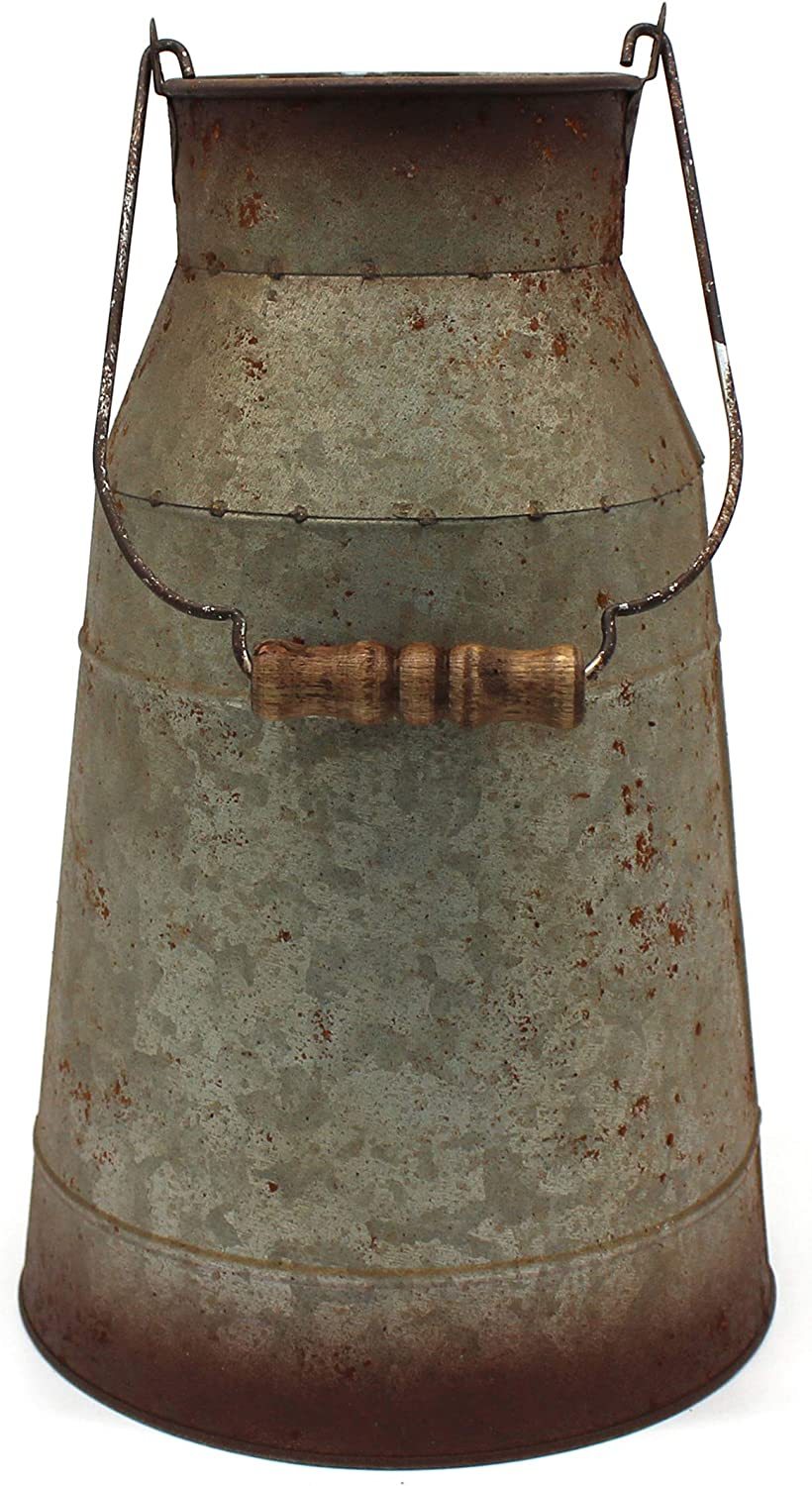 CVHOMEDECO. 10 Inch Galvanized Metal Milk Can with Wooden Handle, Old Rustic Farmhouse Pitcher Jug Vase for Home and Garden Décor.