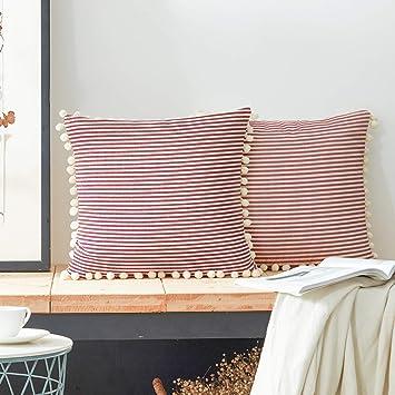 Amazon.com: Comho - Juego de 2 fundas de almohada de algodón ...