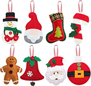 WILLBOND 8 Pieces 3D Christmas Tree Felt Ornaments Christmas Santa Clause Snowman Reindeer Bear Candy Cane, Christmas Stocking, Gnome Felt Toys Decoration for Christmas Tree Party