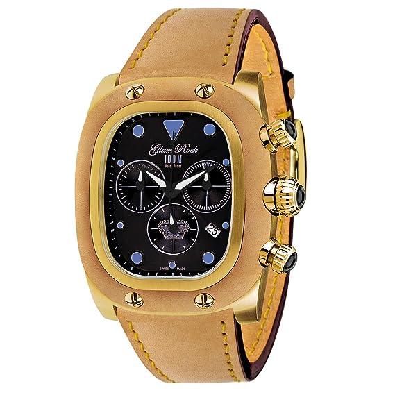 Glam Rock hombres de cuarzo negro dial reloj chapado en oro de Gulfstream banda de cuero