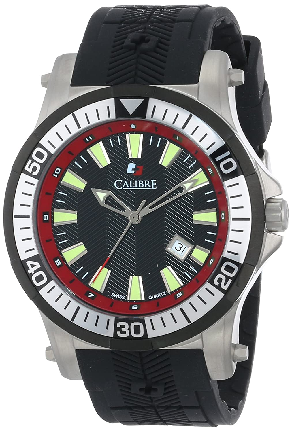 Calibre Men s SC-4H1-04-007.4 Hawk Stainless Steel and Black Rubber Watch