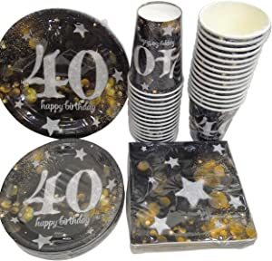 """Serves 30   Complete Party Pack   Happy 40th Birthday   9"""" Dinner Paper Plates   7"""" Dessert Paper Plates   12 oz Cups   3 Ply Napkins   40th Birthday Party Theme"""