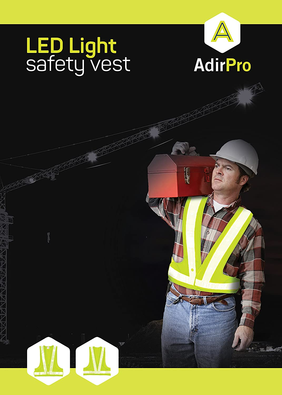 Green AidrPro LED Light Safety Vest with Reflective Stripes