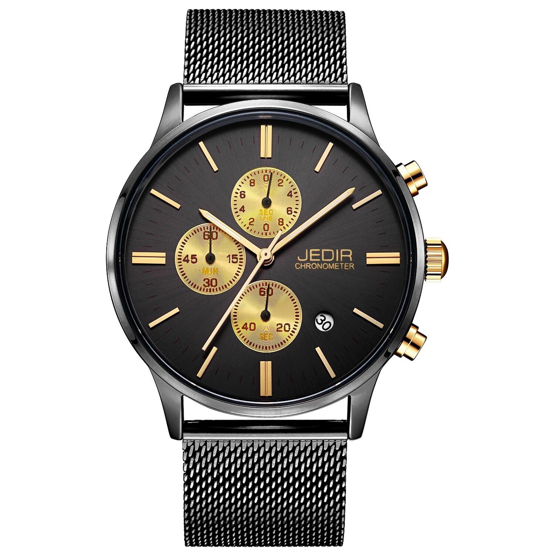 JEDIR Men's Chronograph Watch Analog Quartz Watch Classic Simple Design Date Calendar and Milanese Mesh Band (Black Gold) by JEDIR