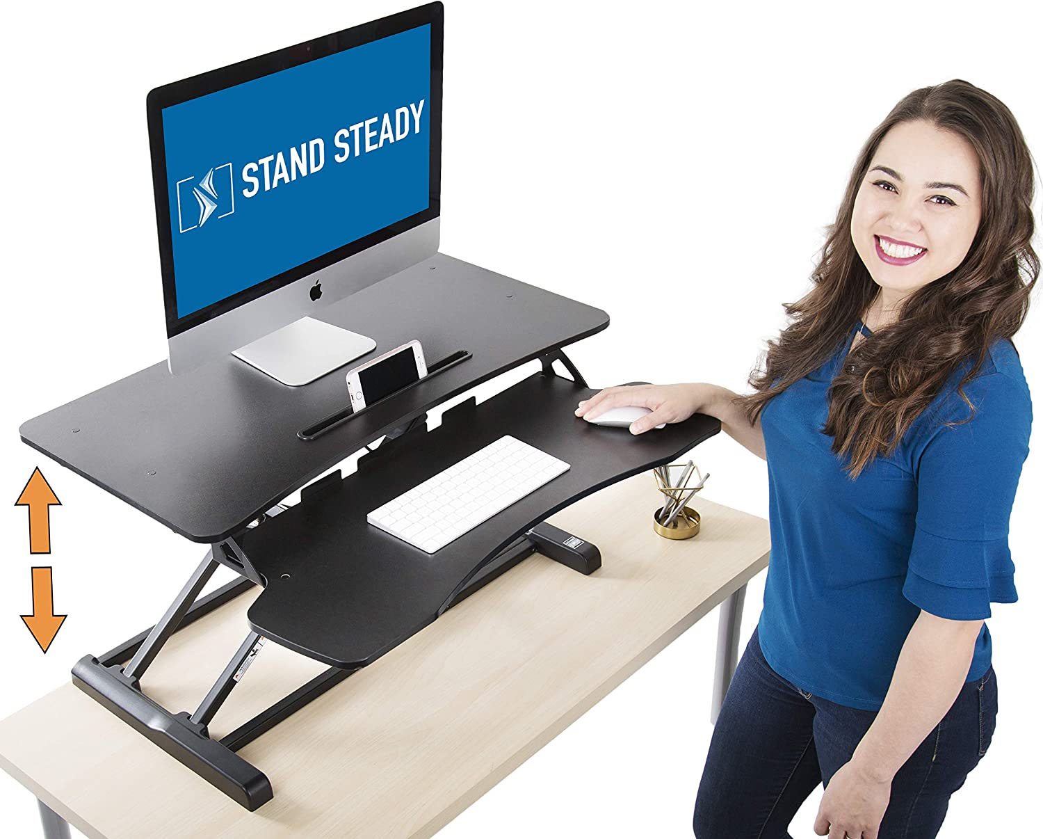 Stand Steady Flexpro Hero Two Level Standing Desk – Easily Sit or Stand in Seconds Large Work Space w Removable Extra Level for Keyboard Mouse Regular 32
