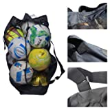 WILNARA Heavy Duty Large Soccer Mesh Equipment Ball Bag Nylon Adjustable Shoulder Straps Adults Beach Backpack