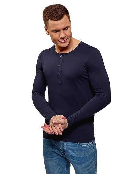 1a7fbcfde4 oodji Ultra Hombre Camiseta Henley de Manga Larga sin Etiqueta  Amazon.es   Ropa y accesorios