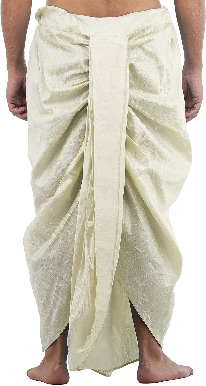 Maenner-Dhoti-Dupion-Silk-Plain-handgefertigt-fuer-Pooja-Casual-Hochzeit-Wear Indexbild 45
