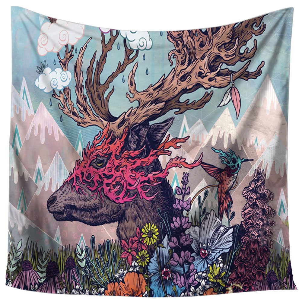 sweethome Animal Graphics Tapestry Wall Hanging Decor Hippie Trippy Large Tablecloths Wall Tapestry For Home Decor (Deer)