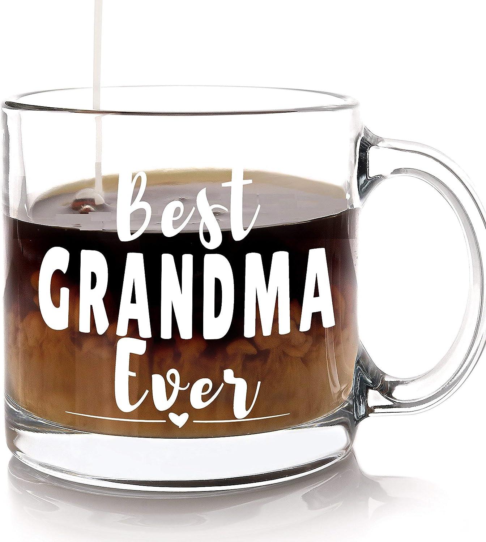 Taza de café Best Grandma Ever – Regalo del día de la madre para abuela o abuela de nieto o nietos, regalo sentimental perfecto para la nueva abuelita en cumpleaños y Navidad de cristal de 13 oz
