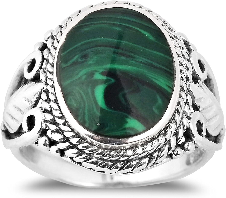 AeraVida Vintage Inspired Round Green Malachite Nature .925 Sterling Silver Ring