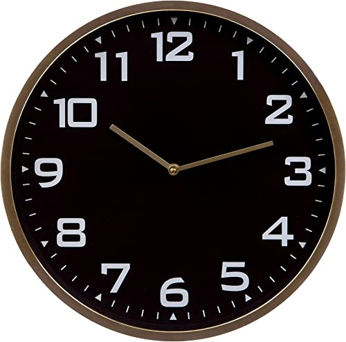 Patton Wall Decor 16 Inch Round Essential Gold and Black Wall Clock
